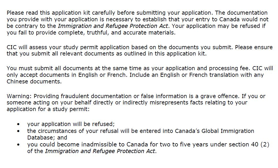 Preamble to Chinese Study Permit App